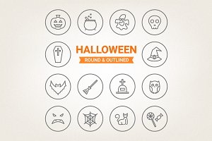 Circle Halloween icons