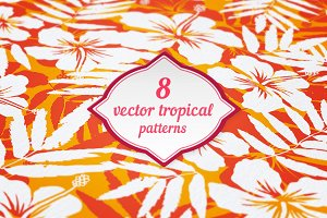 8 vector tropical flowers patterns