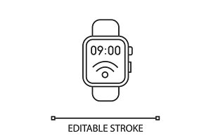 NFC smartwatch linear icon