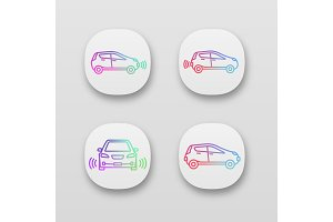 Smart cars app icons set