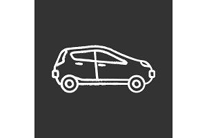 Car side view chalk icon
