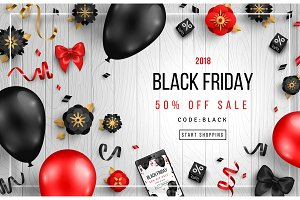 Black Friday on Wooden Background