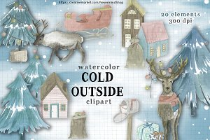 Winter watercolor clipart kit