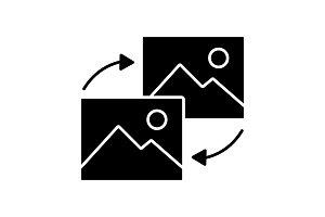 Data transforming glyph icon