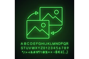 Data transforming neon light icon