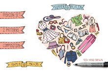 Summer fashion. Doodle vector set