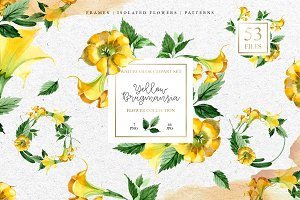 Yellow Brugmansia PNG watercolor set