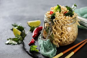 Chinese or thai noodles with veggies