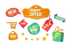 Promotional badges and sale tags