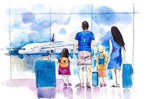 Young family travelling in