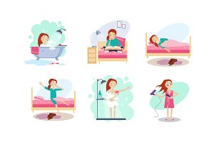 Woman daily routine, night and
