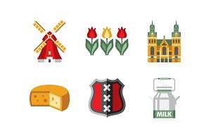Netherlands travel icons set