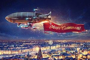 Fantastic celebratory airship