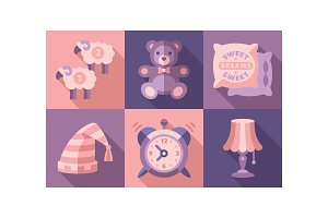 Sweet dreams icons set, sleep time