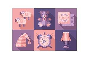 Sweet dreams icons set, sleep time