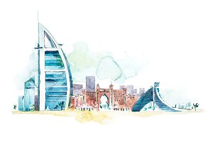 Skyline of Dubai Cityscape landmark