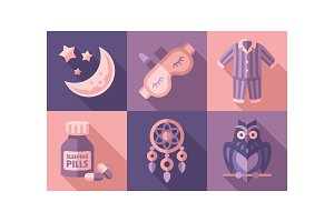 Sleep time icons set, sweet dreams