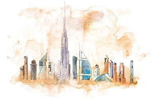 Skyline of Dubai Cityscape landmark