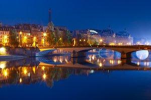 Night Seine, Paris, France