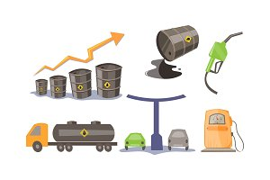 Petroleum industry icons set, oil