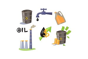 Oil industry icons set, processing