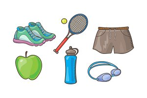 Fitness sport icons set, tennis
