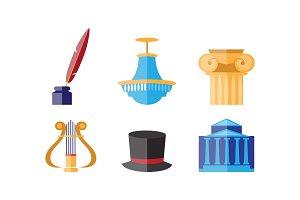Theatre icons set, theatrical