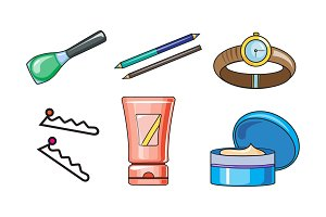 Collection of woman cosmetics and