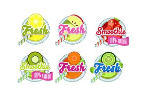 Fresh smoothies logo set, lemon