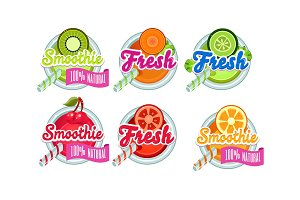 Fresh smoothies logo set, kiwi