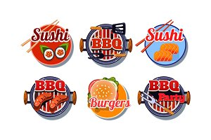 Fast food logo set, sushi, barbecue