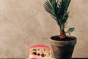 sweet tasty cake with raspberries on