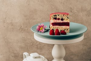 sweet tasty cake with raspberries an