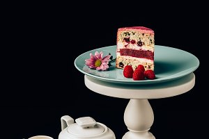 delicious cake with raspberries and