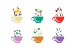 Herbal tea cups set, tea with