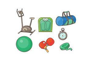Fitness sport icons set, exercise