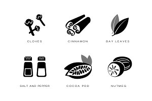 Spices and condiments icons set