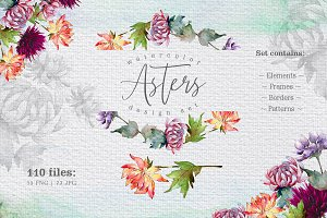 Watercolor asters PNG design set