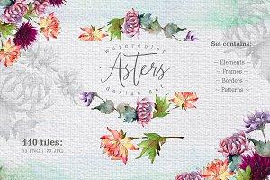 Watercolor asters PNG design set
