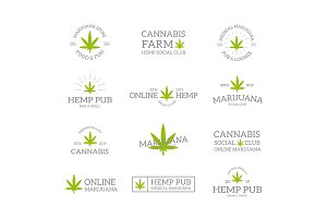 Set of vintage hemp, cannabis logo