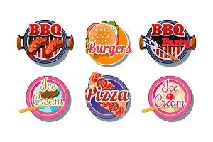 Fast food logo set, pizza, barbecue