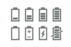 Set of battery indicators icons