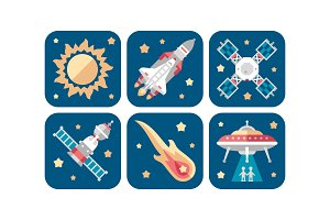 Space icons set, sun, meteorite