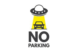 No parking or stopping sign. UFO