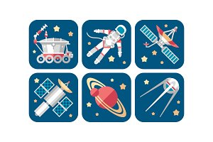 Space icons set, artificial
