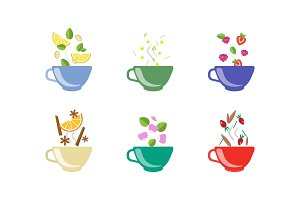 Herbal tea cups set, lemon