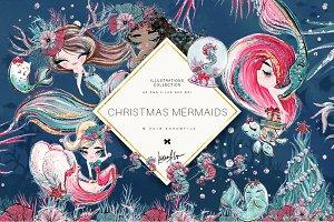 Christmas Mermaids Clipart