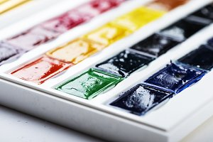set of watercolor paints