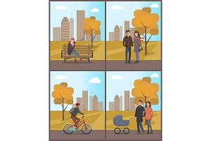 Couples and Biker Woman with Phone