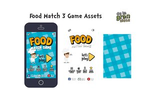 Food Match 3 Game Assets